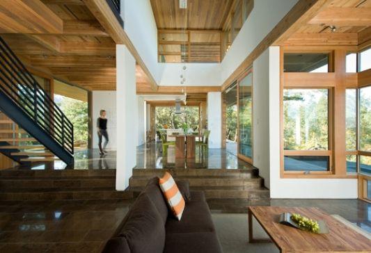 wooden informal cottage living room