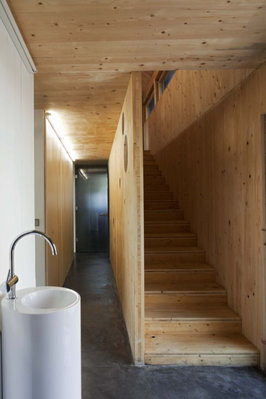 wooden stairs passive house design