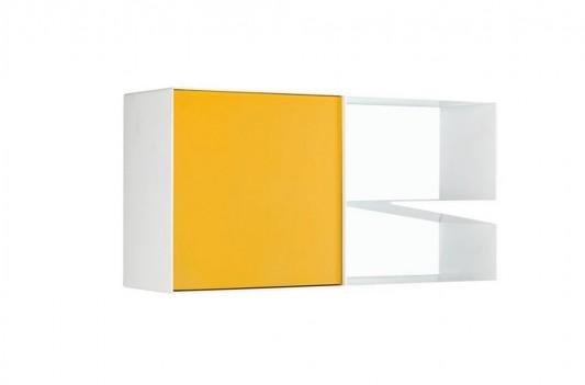 yellow and white minimalist aluminum cabinet